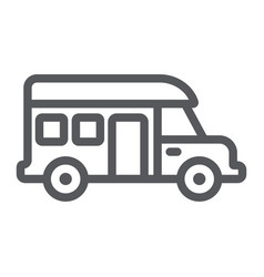 Motorhome line icon transportation and auto vector