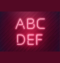 neon letters from pink led neon lamp in realistic vector image
