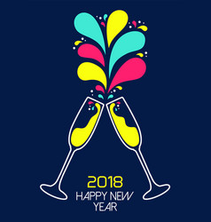 New year 2018 colorful party drink toast card vector