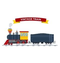 Old vintage retro transportation train vector