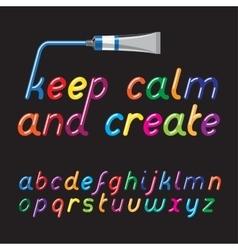 Paint tubes font vector