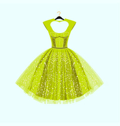 party lime green dress with fancy decor vector image