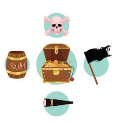 pirate treasure chest flag rum skull telescope vector image