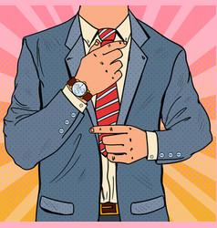 Pop art businessman adjusting tie male fashion vector
