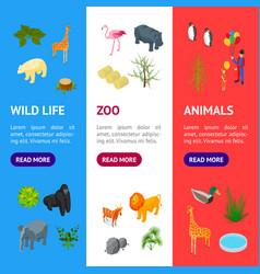 public zoo banner vecrtical set concept 3d vector image