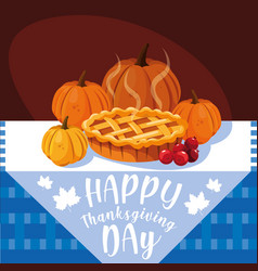 Pumpkins for thanksgiving day with pie in table vector