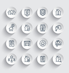 real estate line icons set tenants houses vector image
