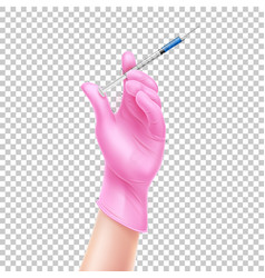 realistic nurse hand in gloves with syringe vector image