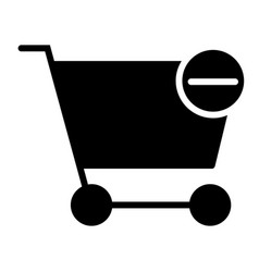 remove items from shopping cart silhouette icon vector image