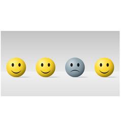 Sad face ball among happy face balls background vector