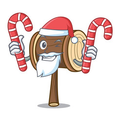 Santa with candy mallet mascot cartoon style vector