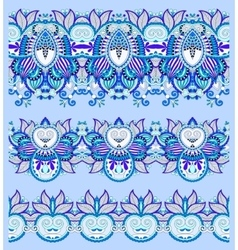 Seamless ethnic blue paisley stripe pattern vector