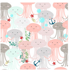 Seamless pattern jelly fish vector