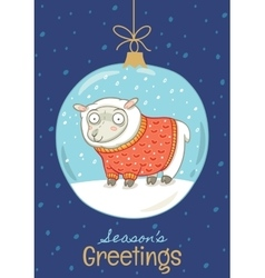 Seasons greetings Christmas card with ball and vector