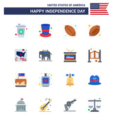 Set 16 flats on 4th july usa independence day vector