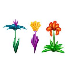 set of fantastic flowers vector image