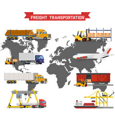 Set on worldwide shipping heavy transport vector
