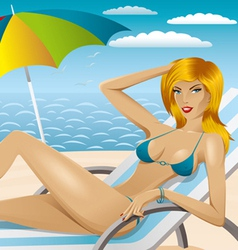 sexy woman in bikini on the beach 4 vector image
