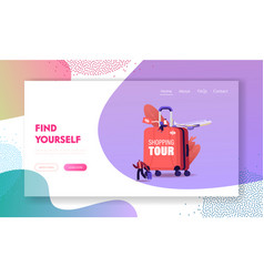 shopping tour landing page template tiny vector image