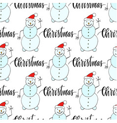 snowman seamless pattern for christmas and winter vector image