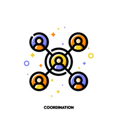 team coordination icon for participation in group vector image