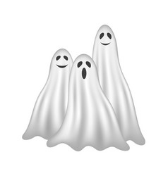 Three ghosts in white design with face vector