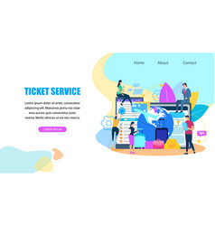 ticket booking service flat web banner vector image