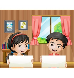 Two kids with empty signboards inside the house vector image