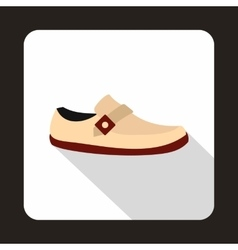 White shoe with red sole icon flat style vector image