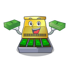 With money cash register with lcd display cartoon vector