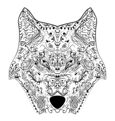 Wolf head entangle stylized freehand pencil vector
