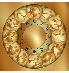 Zodiacs signs on a gold disks uno vector