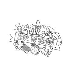 back to school ribbon vector image