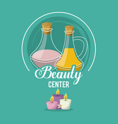 colorful logo of beauty center with set of floral vector image