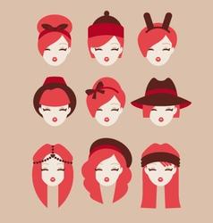 fashion girls icon set vector image vector image