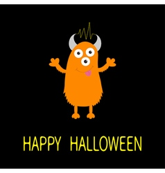 Happy Halloween card Orange monster with eyes vector image vector image