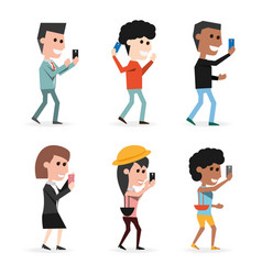 set people with technology smartphone in the hand vector image vector image