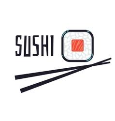 Sushi bar or restaurant logo template vector image