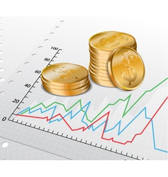 Trade diagram with golden coins vector image