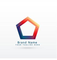 Vibrant geometric pentagonal shape logo concept vector