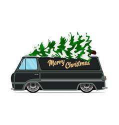 vintage green car with christmas tree christmas vector image