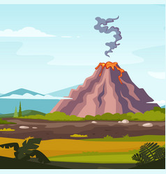 wild landscape with volcano and lava cartoon vector image