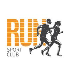 run sport club running man and woman logotypes vector image