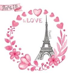 Paris in loveWatercolor floral pink wreathEiffel vector image vector image