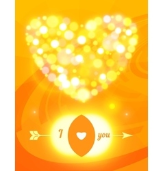 Valentine s day card with glass hearts and lights vector image vector image