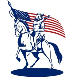 American cavalry soldier riding horse bugle and vector image vector image