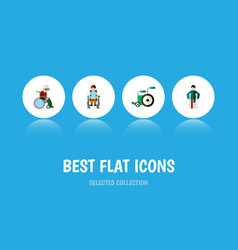 flat icon handicapped set of injured disabled vector image