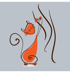 Red cat playing with curtain eps10 vector image