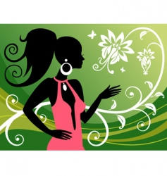 woman and floral ornaments vector image