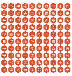 100 internet icons hexagon orange vector image